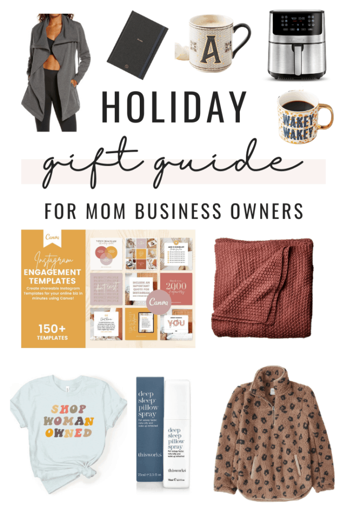Collage of holiday gift ideas for mom business owners