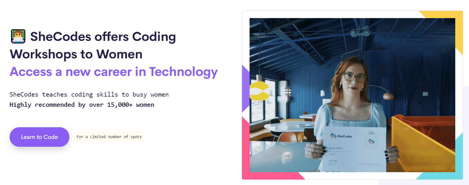 Screenshot of the SheCodes homepage - bold, modern look with emojis - coding workshops for women